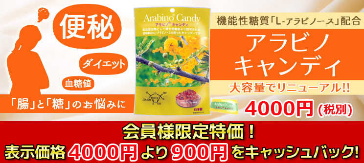 アラビノキャンディ 便秘、ダイエット、血糖値…「腸」と「糖」のお悩みに 大容量でリニューアル!! 会員様限定特価!表示価格4000円より900円をキャッシュバック!